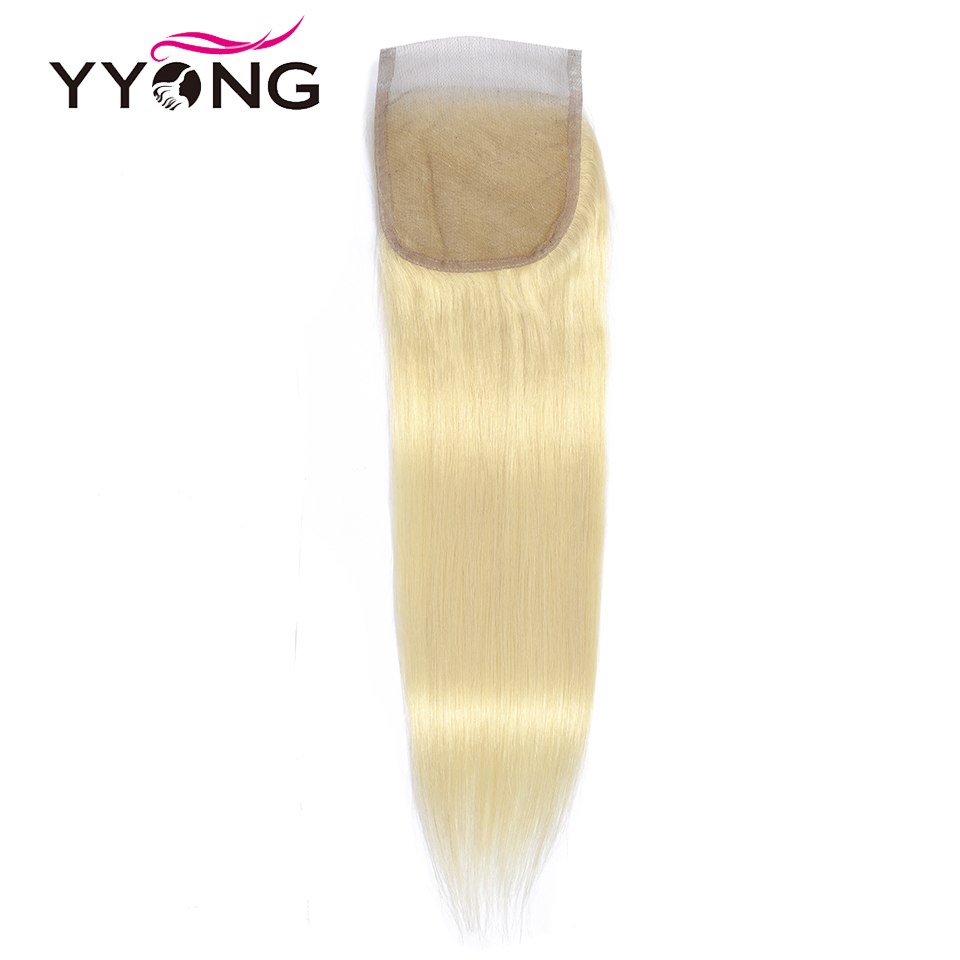 Yyong 50g 5/6 Pcs #613 Honey Blonde Bundles With Closure  Straight  613 Blond  Closure With Bundles 4