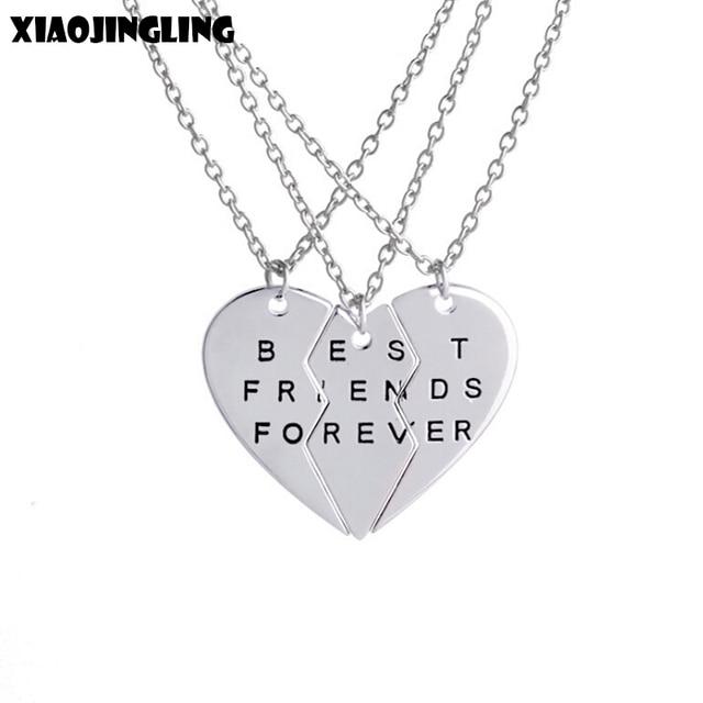 9aaf50286a22 XIAOJINGLING mejor amigo para siempre collar Corazón Roto 3 piezas COLLAR  COLGANTE joyería de moda collar