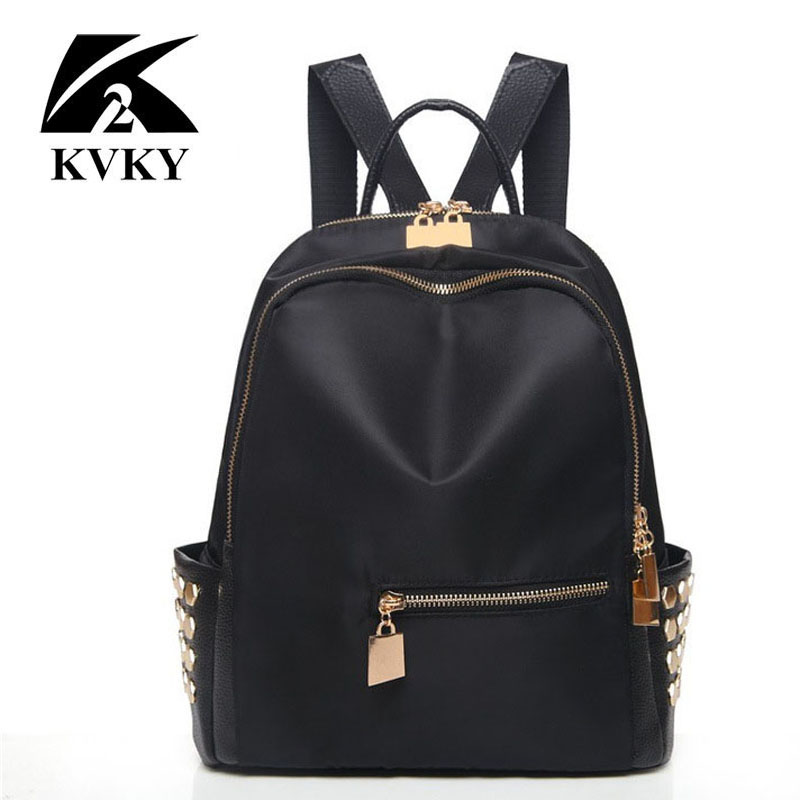 d627c09a76e7 KVKY Small Waterproof Nylon Women Backpack Fashion Black Shoulder Back Bag  Preppy Style Rivet Backpacks for Teenage School Girls