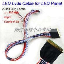 Cabo 5 peças, x led laptop lvds cabo 40 pinos único 6 pontos para I-PEX 20453 b14xw02 cabo do painel frete grátis