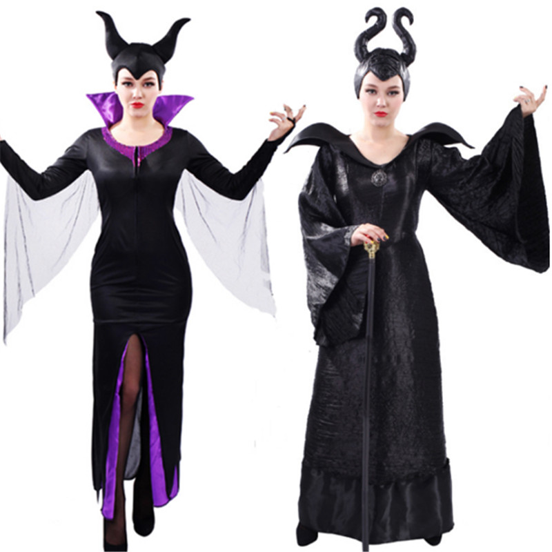 new Halloween Sleeping curse Evil queen Costume For Women Scary vampire Skeleton Skull goat Bride Cosplay Dress Day of the Dead