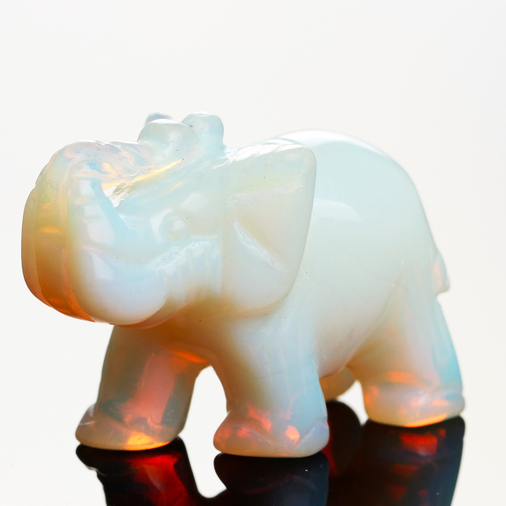 Opal Opalite Tiger eye Elephant Natural stone carved 1.5inch Figurine Chakra Bead Healing Crystal Reiki Feng Shui Free Pouch