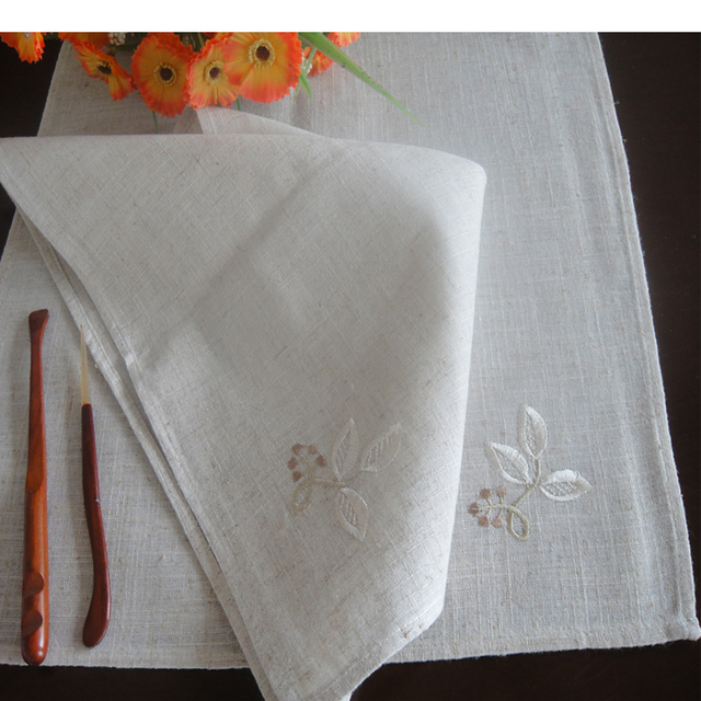 Linen table Placemats Dining Table Mats kitchen Tableware Jute cotton flower Embroidered napkin placemats Table mats & Linen table Placemats Dining Table Mats kitchen Tableware Jute ...