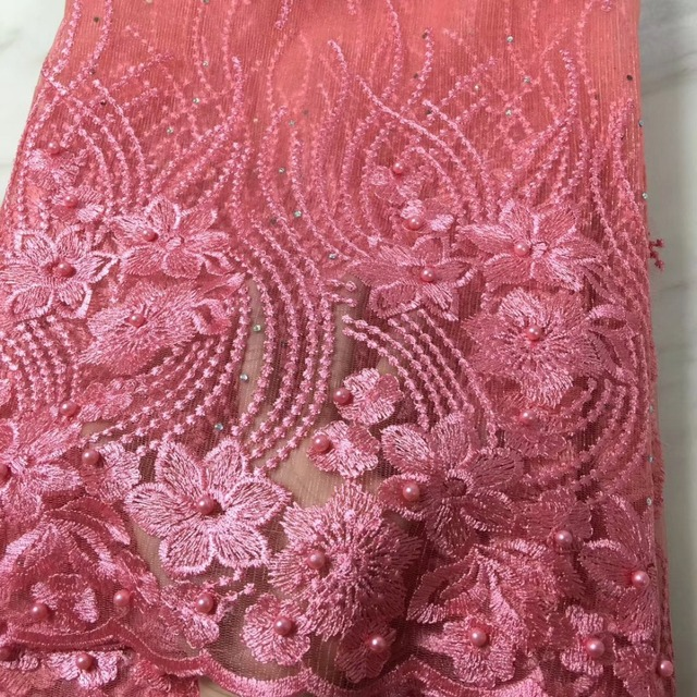 2019 High Quality African Lace Fabric Peach French Net Embroidery Tulle Lace Fabric For Nigerian Wedding Party Dress