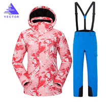 Winter Ski Suit Women Brands 2019 High Quality Ski Jacket+Pants Snow Warm Waterproof Windproof Winter Female Snowboarding Suits 2018 new lover men and women windproof waterproof thermal male snow pants sets skiing and snowboarding ski suit men jackets