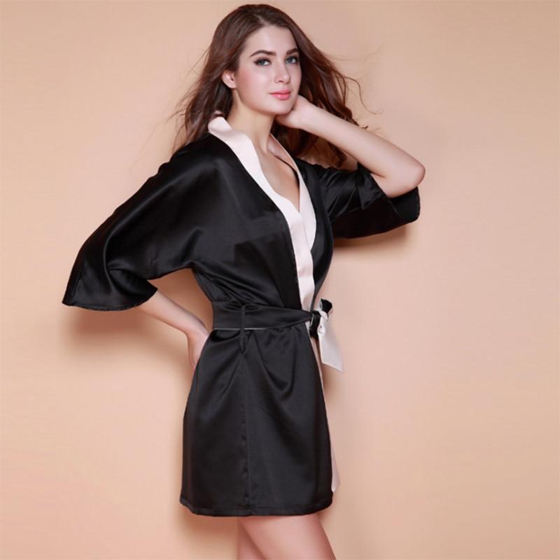 2016 New Sexy Summer Imitate Silk Padded Nightdress High Quality Spring Robe Elegent Sleepwear Batch Cloths Drop Shipping iT336