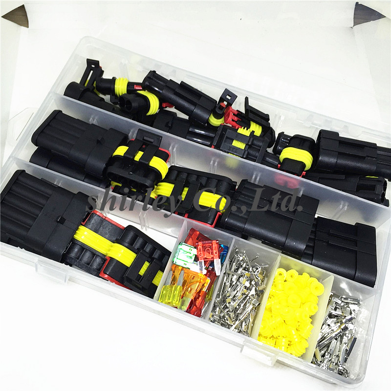 240Pcs Superseal AMP Tyco Waterproof 12V Electrical Wire Connector Sets Kits With Crimp Terminal And Car Fuse Small Medium Size