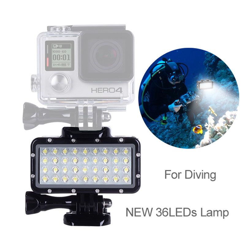 Waterproof 45m//147ft Diving Light High Power Dimmable 36 LED Underwater Fill Light for GoPro Hero 6//5//4//3//3+//2//Session//LCD//XIAOYI//SJ5000//SJ6000 ect Action//DSLR Camera with Rechargeable Battery