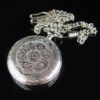 2010 Silver Tone Antique Mens Artistic Pocket Quartz Watch
