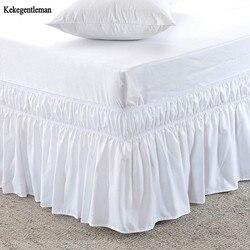 Camisas brancas da cama da saia da cama do tamanho da rainha do hotel sem elástico de superfície único rei da rainha fácil sobre/fácil fora da saia da cama