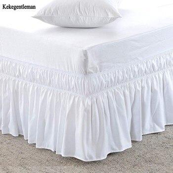Hotel Cama Cama Queen Size Saia Branca Camisas sem Superfície Elástica Banda Única Rainha Rei Fácil On/Off Fácil saia da cama