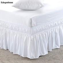 Hotel rozmiar Queen falbanka na ramę łóżka białe łóżko koszule bez elastyczna opaska pojedyncze królowa król łatwe włączanie wyłączanie falbanka na ramę łóżka tanie tanio Kekegentleman TD060 Gładkie barwione Domu Other 0 5-0 6kg 300tc Stałe 100 poliester