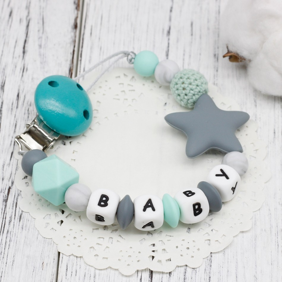 Mother & Kids Delicious Personalized Name Silicone Teething Pacifier Clips With Biscuit Silicone Teether Pacifier Chain Necklace For Baby Chew Toys Nipple & Accessories