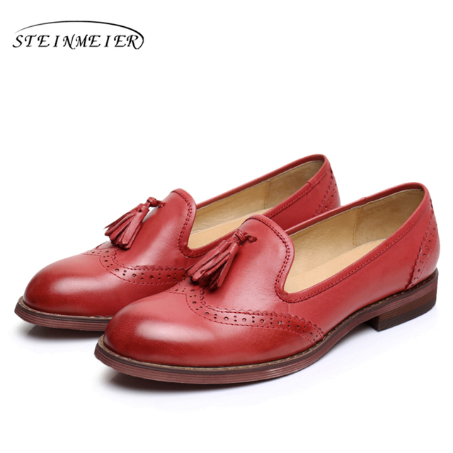Sheepskin leather flat shoes women US size 9 handmade brown blue red 2017 vintage round Toe British style oxford shoes for women