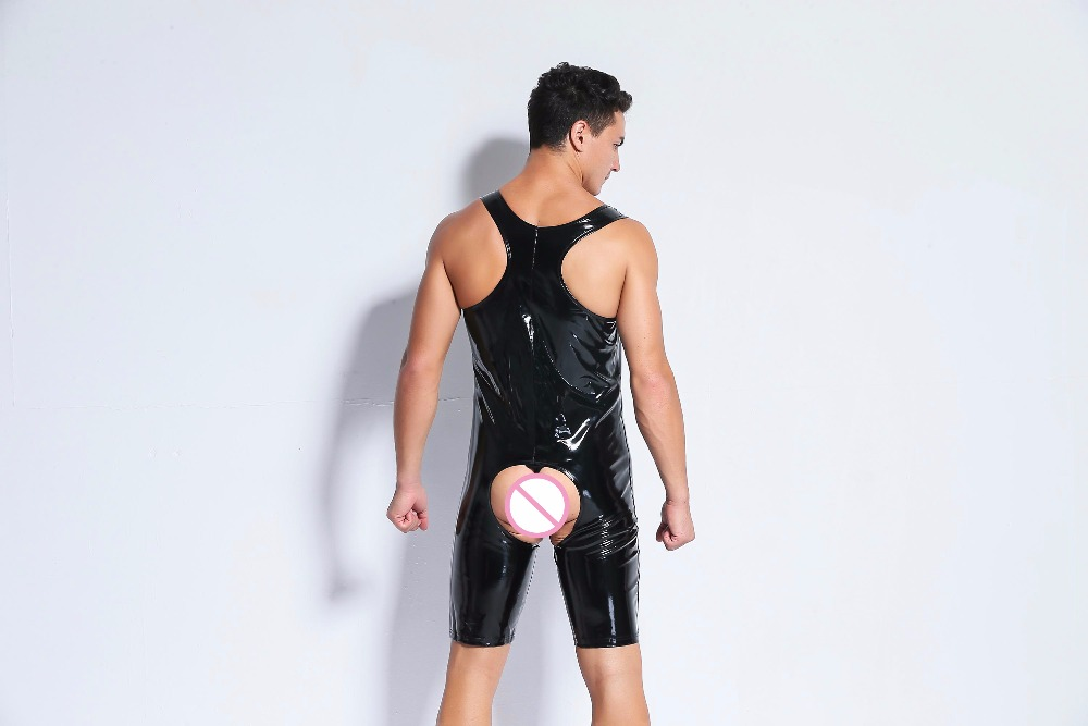 Sexy Lingerie Hot Crotchless Underwear for Men Sexy Bodysuit Latex Catsuit Open Crotch Faux Pu Leather Lenceria Erotica Black