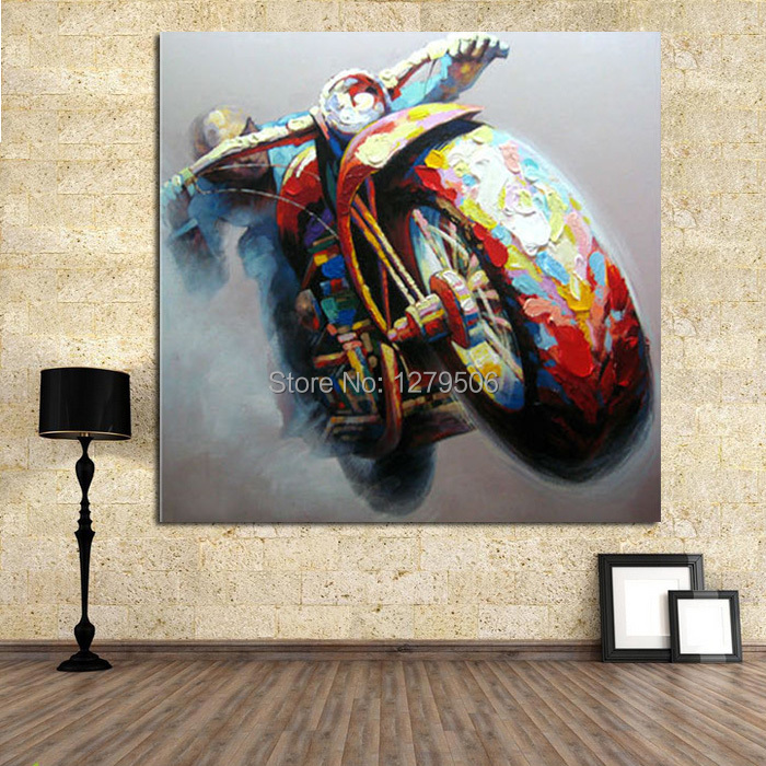 100%Handpainted Abstract Oil Painting Wall Art on Canvas for Home Decoration 1pc cool Motorcycle Racer As The Best Gift