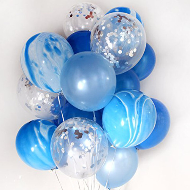 12 20pcs Marble Confetti Balloons Bouquet Clear Latex