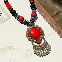 2019 Vintage Nepal Long Buddhist Stone Flower Pendant & Necklace For Women Boho Beads Tassel Wood Necklace Lucky Jewelry