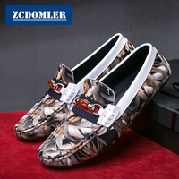 ZCDOMLER Top Quality Luxury Men Shoes Print Men Loafers Casual Genuine Leather Driving Shoes Slip On Moccasins Boat Shoes Men