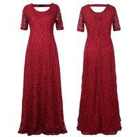 2016 9XL Big Size Women Flower Lace Long Dress Plus Size Floor Length Elegant Women Hollow