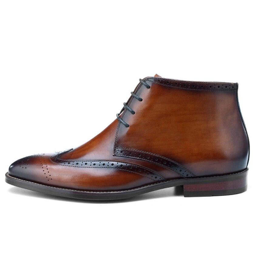 Punta Los Cuero Hombre Bql170 marrón Hecha Vintage Botas Para Vaquero Negro A De En Hombres Zapatos Redonda Mano Tallado Ala Oxford Genuino EqB8wIB