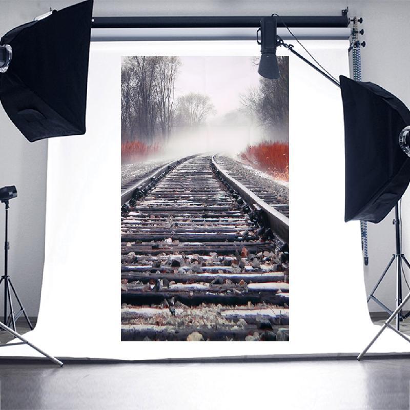 OOTDTY New 2017 Vinyl Background Baby Photo Studio Photography Backdrop Children Railway 3x5ft