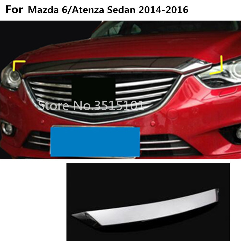 Car cover Bumper engine ABS Chrome trim Front Grid Grill Grille frame edge 1pcs For Mazda 6/Atenza sedan 2014 2015 2016 car styling for mazda 6 m6 atenza 2014 2017 front bumper lower grille protector plate lip cover sticker trim decorative strip
