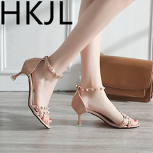 HKCP 2019 summer new fashion wear-resistant non-slip sandals toe sexy rivets belt breathable womens shoes C087