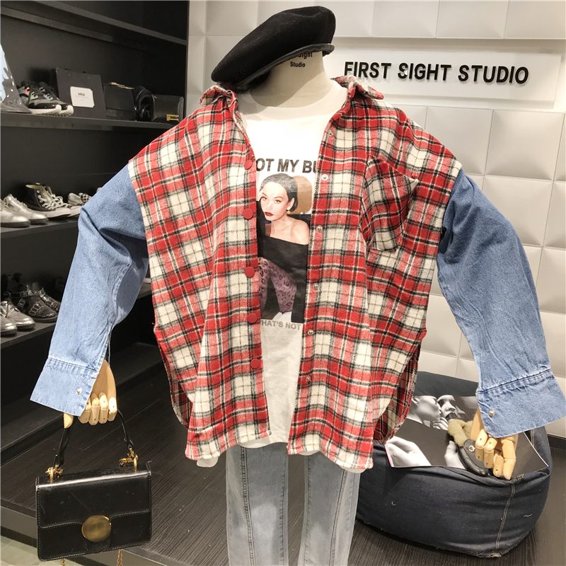 Vintage Woolen Plaid Stitching Jeans Long Sleeve Shirts  3