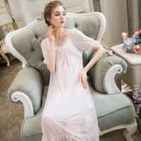 SpaRogerss Lingerie Dress Modal Lace Womens Nightgown Sleepwear Ladies Sexy Night Dress Women Loose Nightwear Sleep Lounge JH048