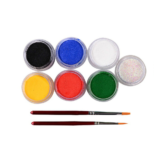 Face Paint Body Painting 6 Colors Set Brushes Glitter Colored Drawing Pigment 9g Water-based Human Face Makeup Cream Paste Party