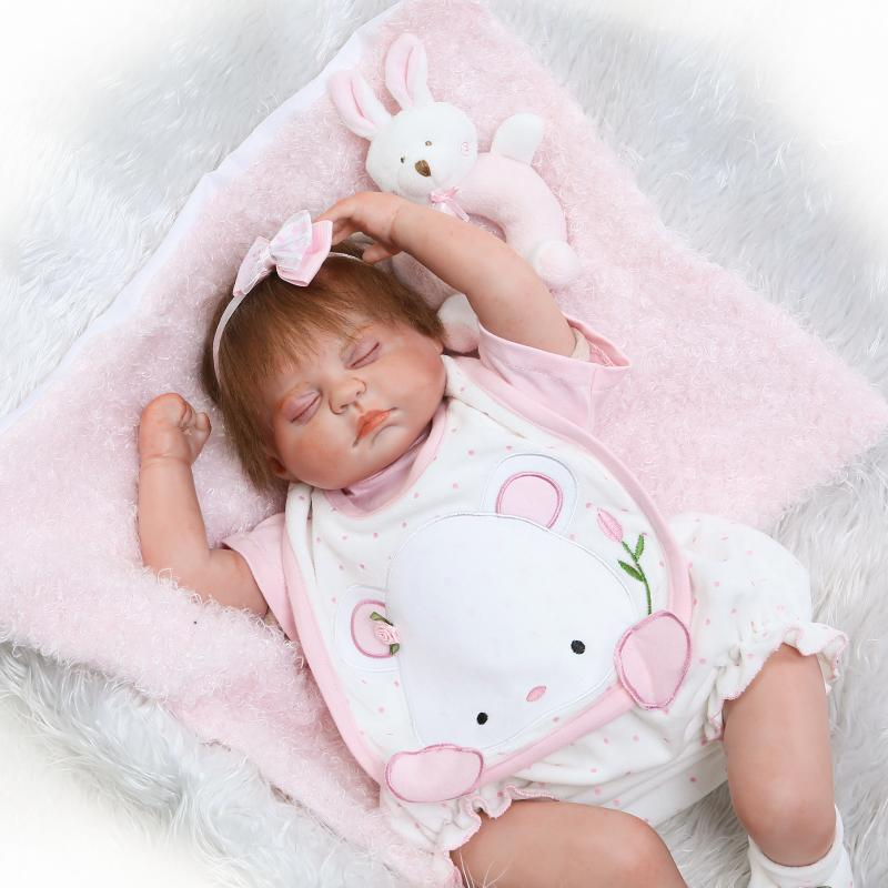 50cm Silicone Reborn Sleeping Baby Doll Toys Lifelike 20inch Princess Newborn babies Doll Child Birthday Gift Girls Brinquedos