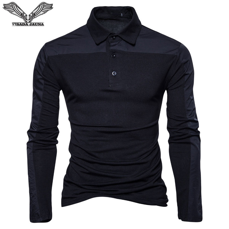 VISADA JAUNA 2018 Men's Polo Shirt Men Cotton Business Casual Solid Polo Shirt Slim Fit Long Sleeve Men Clothing Big Size N8892