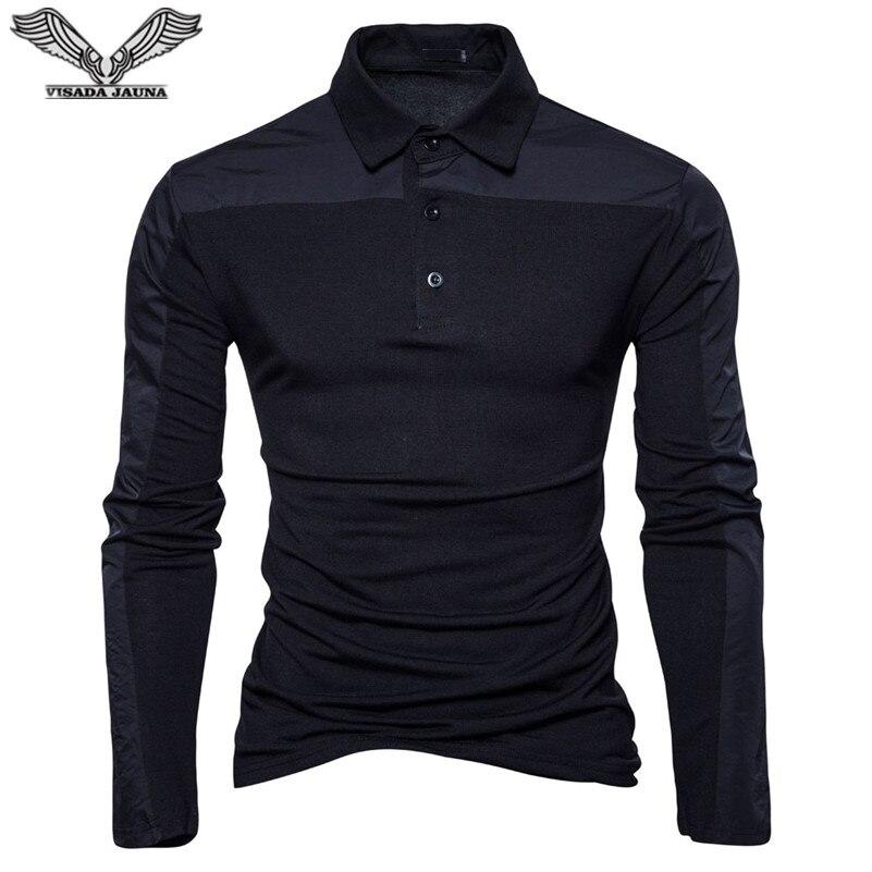 VISADA JAUNA 2018 Mens Polo Shirt Men Cotton Business Casual Solid Polo Shirt Slim Fit Long Sleeve Men Clothing Big Size N8892