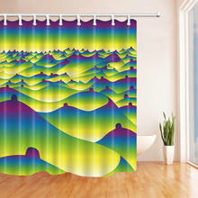 Abstract Magical Dreamy Hills Yellow Blue Shower Curtain Waterproof Mold Mildew Resistant Home Decoration Bathroom Curtains