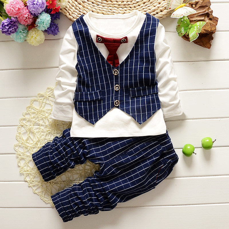 2017 Baby Boys Clothes Sets Gentleman With Tie Long Sleeved T-shirts Tops + Plaid Pants Outfits Kids Bebes Jogging Suits Vestido