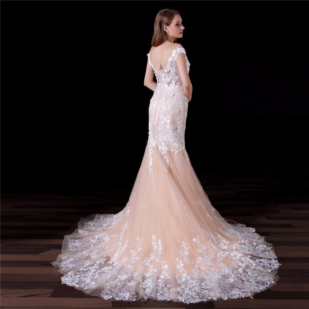 Vestido De Novia 2018 Champagne Mermaid Wedding Dress Flowers Lace ...