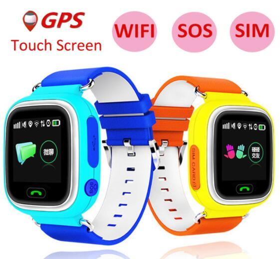 Слизняк GPS Детские умные часы Q90 для SmartWatch С 1.22 дюйма Сенсорный экран SOS вызова расположение трекер для детей безопасный Best подарок