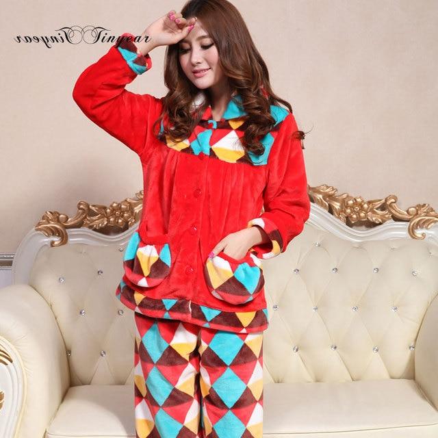 56b0d1c77669 Good quality winter pijama women pajama set size M-XL turn-down collar  geometric ladies home suit