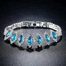 Beiver ácido cristal azul charme tênis pulseira em ródio chapeado micro pave aaa zircônia cúbica pedra jóias