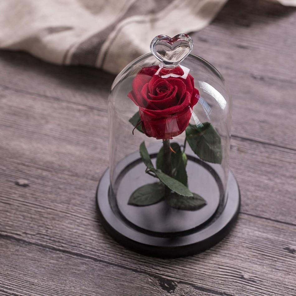 Вечный цветок розы с любовью стекло черный чехол искусственный цветок подарок на год Валентина Рождество Gif хорошее украшение дома - Цвет: Red rose