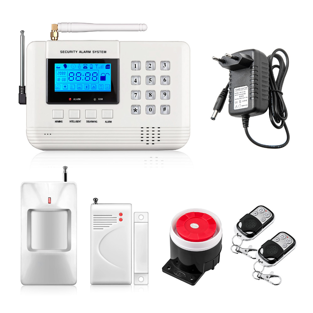 LCD Screen 433Mhz Remote Control Wireless GSM sms call PSTN phone line dual network Home Security gsm Alarm System wireless service call bell system popular in restaurant ce passed 433 92mhz full equipment watch pager 1 watch 7 call button