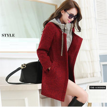2016 Europe Autumn/winter Jacket Temperament Women's Fashion High-end Han Edition Bigger Sizes With Thick Wool Woolen Cloth Coat