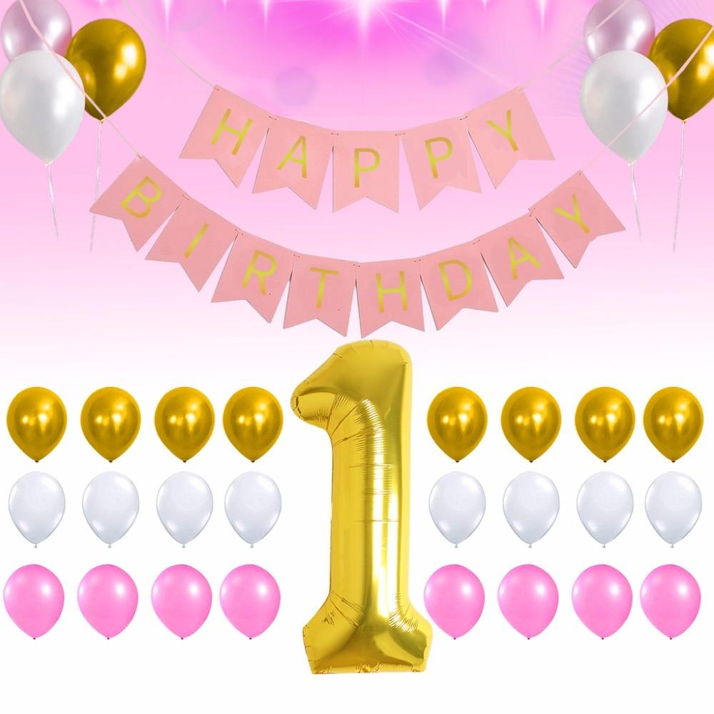 1st Happy Birthday Background Decoration Golden 1 Digital