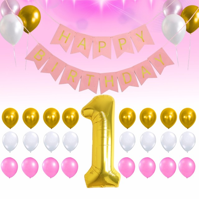 1st Happy Birthday Background Decoration Golden 1 Digital Balloon Pink And Gold White Balloons Banner