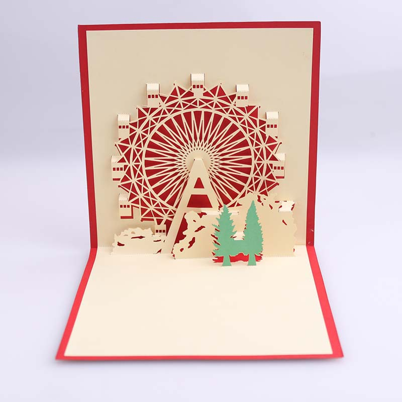 The new 3 d CARDS, wedding invitations, small three-dimensional effect of the ferris wheel, holiday greeting card 15*15cm 30pcs in one postcard take a walk on the go dubai arab emirates christmas postcards greeting birthday message cards 10 2x14 2cm