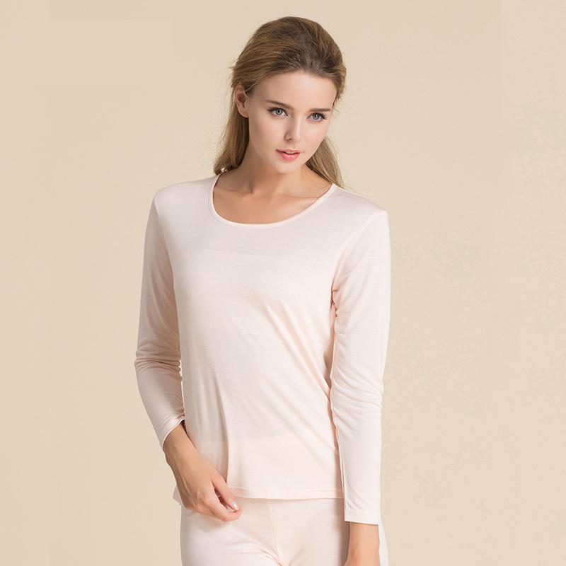 Autumn And Winter Ladies Knitted Silk Underwear Suit Two Pieces 100% Pure Silk Price