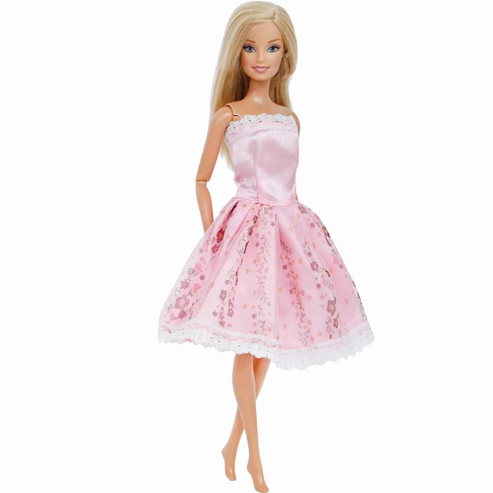 0b3363259f0 ... Lovely Fashion Pink Dress Wedding Party Wear Lace Strapless Floral  Skirt Dollhouse Clothes For Barbie Doll ...