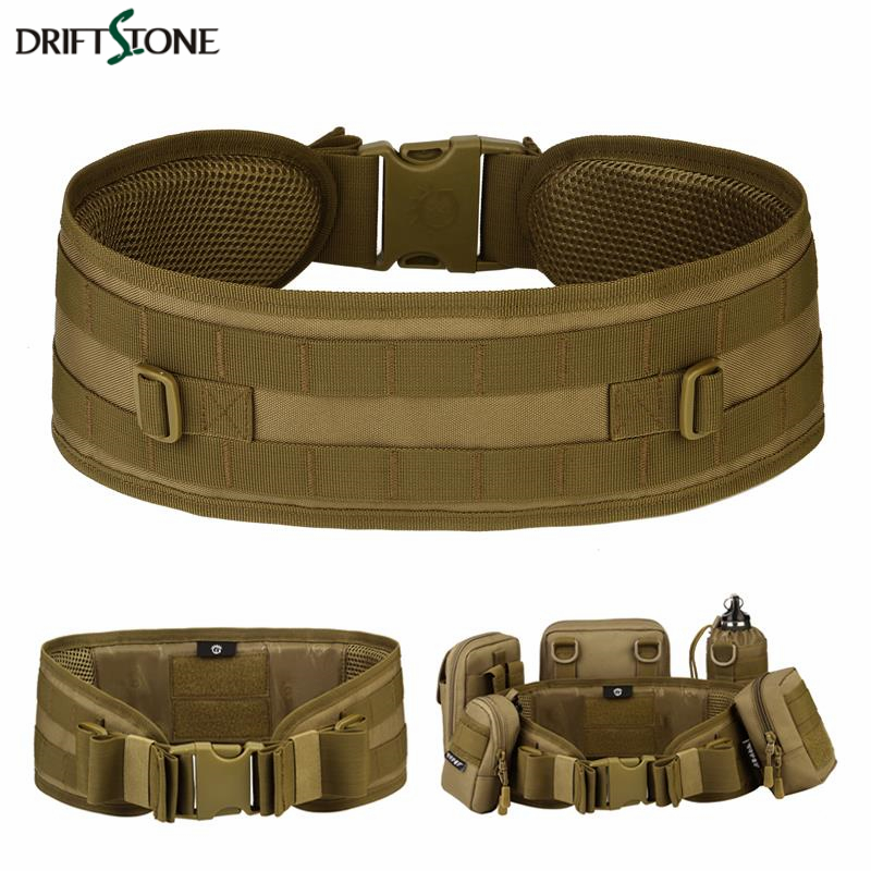 Nylon Molle Tactical Belt 600D Military Police Security Combat Belts Lumbar Waist Support Outdoor Hunting Training Airsoft Belt