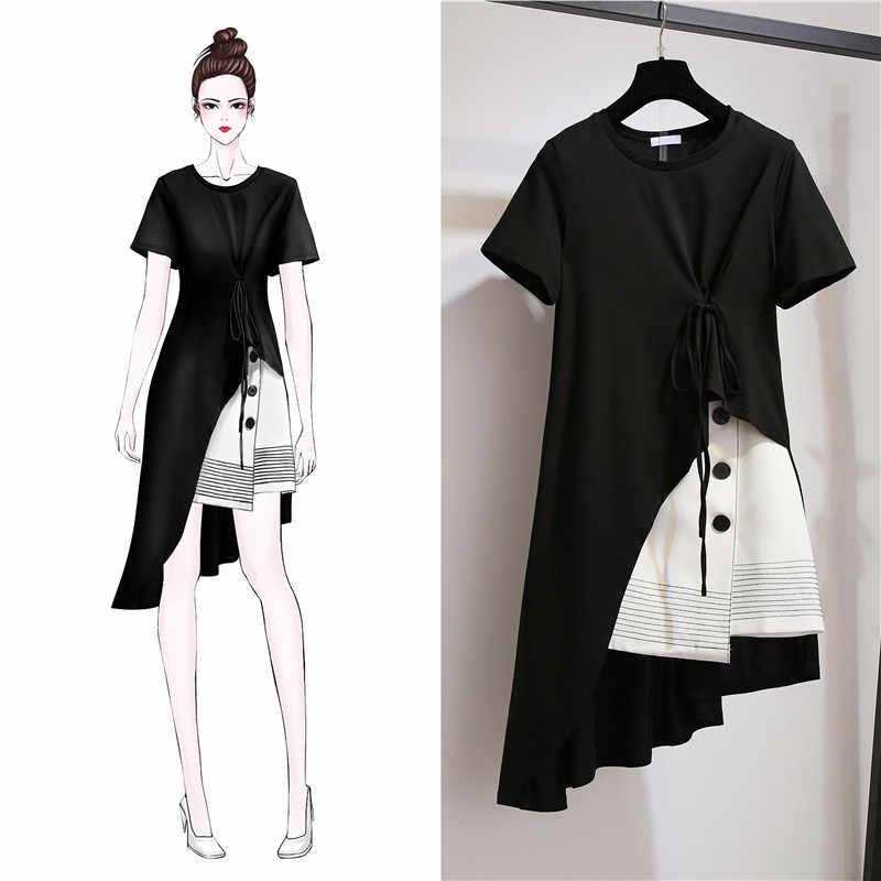 fashion Korean Large Size Women's Sets Summer Dress 2019 New Women Short Sleeve Suit Dress Skirt Suit X629